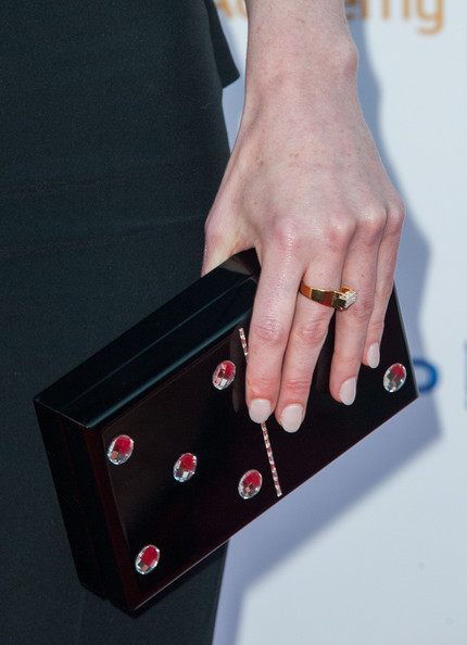 Michelle Dockery Neutral Nail Polish [finger,hand,nail,arm,technology,fashion accessory,jewellery,electronic device,ring,wrist,arrivals,michelle dockery,clutch detail,spectra,pacific design center,west hollywood,television academy,66th annual emmy awards,reception,nominee reception]