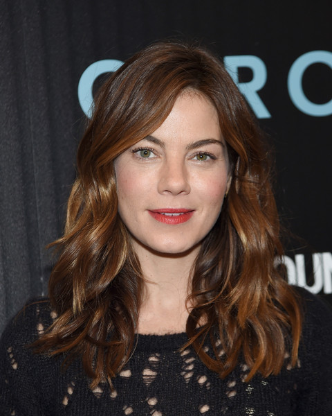 Michelle Monaghan Red Lipstick [hair,hairstyle,face,brown hair,eyebrow,long hair,layered hair,hair coloring,blond,beauty,arrivals,carol,michelle monaghan,florence gould hall,new york city,cinema society with town country host a screening of the weinstein company,the cinema society,town country,screening]