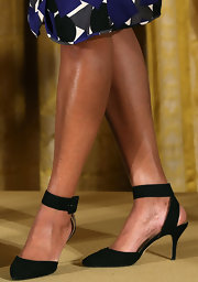 Michelle Obama wore a stylish pair of black ankle-strap pumps during an awards ceremony at the White House.