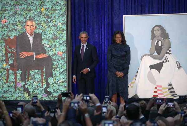Michelle Obama Cocktail Dress [portraits,portrait,event,fashion,adaptation,speech,crowd,fashion design,performance,michelle obama,barack obama,smithsonian,u.s.,national portrait gallery,washington dc,portrait unveiling at natl portrait gallery,ceremony]