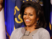 Michelle Obama styled her hair in a teased bob for an event at the Pentagon.