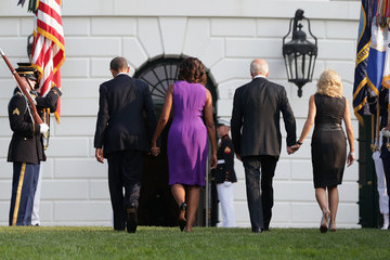 Michelle Obama Jill Biden First Family Observes a Moment of Silence