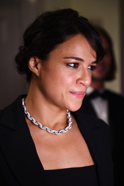 Michelle Rodriguez Diamond Collar Necklace [hair,hairstyle,eyebrow,chin,beauty,lady,forehead,lip,black hair,neck,reporter,michelle rodriguez,swarovski party,hollywood,cannes,france,party,hollywood reporter,cannes film festival]