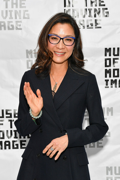 More Pics of Michelle Yeoh Pantsuit (1 of 15) - Suits Lookbook - StyleBistro [michelle yeoh in conversation with ang lee,michelle yeoh,eyewear,hairstyle,white-collar worker,glasses,suit,outerwear,vision care,long hair,premiere,little black dress,an evening with michelle yeoh,museum of the moving image,new york city]