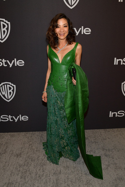 Michelle Yeoh Leather Dress [dress,clothing,green,fashion model,carpet,gown,shoulder,hairstyle,cocktail dress,fashion,michelle yeoh,beverly hills,california,the beverly hilton hotel,instyle,red carpet,warner bros. 76th annual golden globe awards,warner bros. 76th annual golden globe awards post-party]