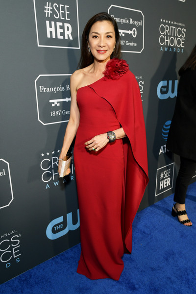 Michelle Yeoh One Shoulder Dress [red carpet,clothing,red carpet,carpet,dress,shoulder,red,premiere,fashion,flooring,joint,michelle yeoh,critics choice awards,santa monica,california,barker hangar]
