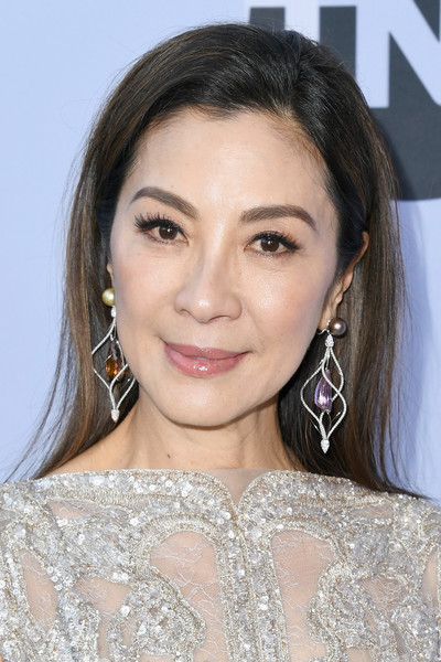 Michelle Yeoh Long Straight Cut [hair,eyebrow,face,hairstyle,lip,beauty,skin,chin,shoulder,forehead,arrivals,michelle yeoh,screen actors guild awards,screen actors\u00e2 guild awards,california,los angeles,the shrine auditorium]