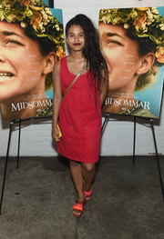 Zazie Beetz kept it super simple in a red shift dress at the New York screening of 'Midsommar.'