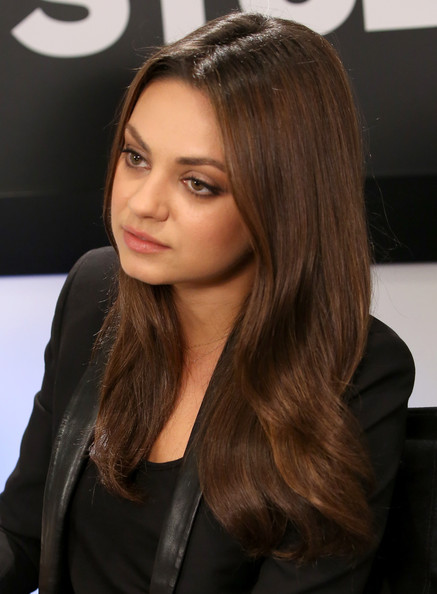 Mila Kunis Long Center Part [hair,face,hairstyle,brown hair,long hair,layered hair,hair coloring,eyebrow,beauty,blond,celebs,mila kunis,toronto,variety studio,canada,moroccanoil,holt renfrew,toronto international film festival]