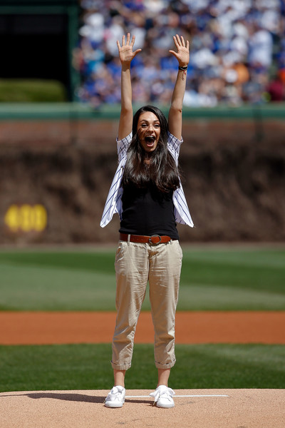 Mila Kunis Khakis [sport venue,baseball field,stadium,baseball,bat-and-ball games,baseball park,pitcher,sports,ball game,baseball positions,mila kunis,players,pitch,honor,wrigley field,chicago,pittsburgh pirates,chicago cubs,game,jackie robinson day]