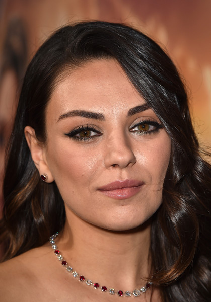 Mila Kunis Gemstone Tennis Necklace [jupiter ascending,hair,face,eyebrow,hairstyle,skin,lip,chin,cheek,beauty,eyelash,red carpet,mila kunis,california,hollywood,tcl chinese theatre,warner bros. pictures,premiere,premiere]