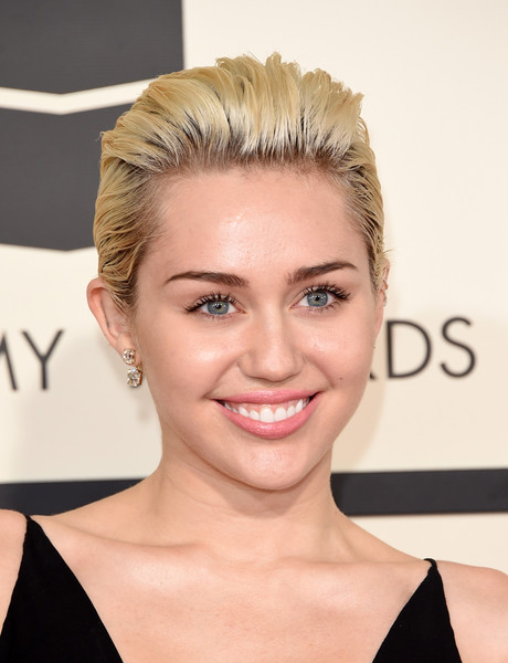 Miley Cyrus Short Straight Cut [hair,face,eyebrow,hairstyle,forehead,blond,chin,skin,beauty,lip,arrivals,miley cyrus,grammy awards,staples center,los angeles,california,the 57th annual grammy awards]