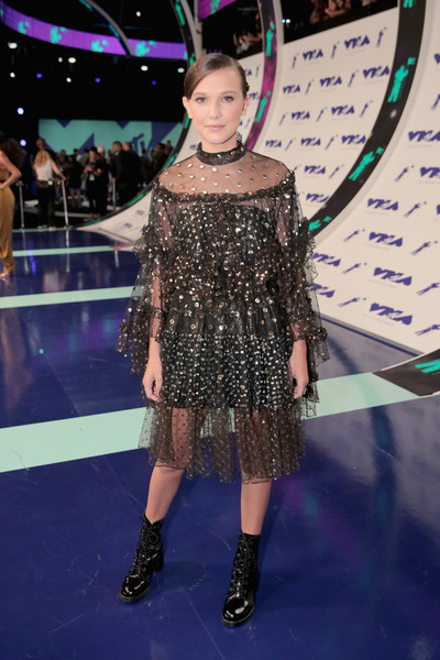 Millie Bobby Brown Embroidered Dress [red carpet,fashion model,catwalk,fashion,flooring,beauty,hairstyle,carpet,fashion show,runway,performance,millie bobby brown,mtv video music awards,inglewood,california,the forum,2017 mtv video music awards,red carpet,mtv video music award,eleven,celebrity,clothing,music,child actor]