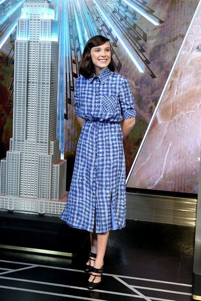 Millie Bobby Brown Shirtdress [clothing,blue,pattern,lady,dress,fashion,beauty,leg,textile,millie bobby brown,ambassador,actress,unicef today appointed emmy,new york city,unicef,on world childrens day,goodwill ambassador,world childrens day,stranger things,eleven,fashion,san diego comic-con,stranger things - season 2,stranger things - season 3,actor,dress]