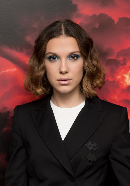 Millie Bobby Brown Curled Out Bob [stranger things season 2,face,hair,red,beauty,lip,eye,forehead,blond,sky,portrait,millie bobby brown,screening,screening,new york city,amc lincoln square theater]