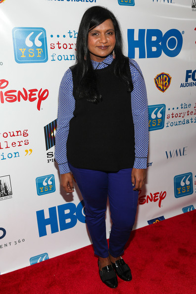 Mindy Kaling Knit Top [annual ``biggest show,the young storytellers foundations annual biggest show,clothing,carpet,cobalt blue,electric blue,outerwear,red carpet,flooring,premiere,event,style,arrivals,mindy kaling,santa monica,california,young storytellers foundation]