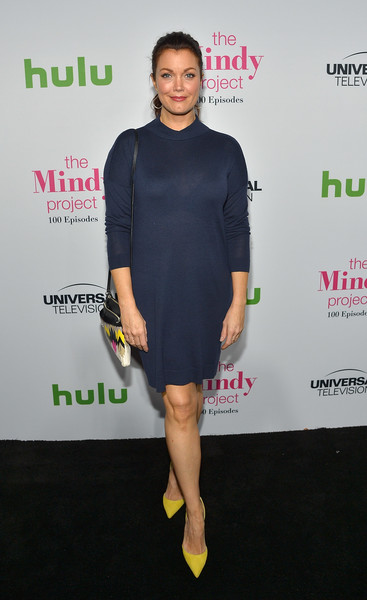 Bellamy Young kept it relaxed in a navy sweater dress at the 'Mindy Project' 100th episode party.