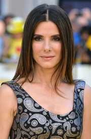 Sandra Bullock wore her hair pin-straight with a center part during the 'Minions' world premiere.