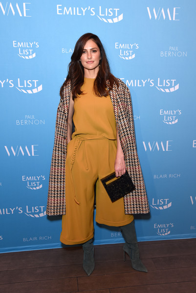 Minka Kelly Box Clutch [clothing,yellow,fashion,fashion design,formal wear,premiere,outerwear,carpet,electric blue,flooring,minka kelly,raising our voices: supporting more women in hollywood politics,los angeles,four seasons hotel,california,beverly hills]