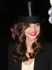 Miranda Kerr topped off her ringmaster costume with a sleek top hat and red lipstick.