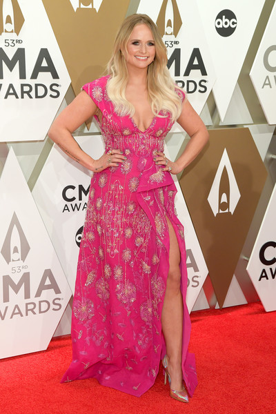Miranda Lambert Beaded Dress [red carpet,carpet,clothing,dress,shoulder,flooring,pink,hairstyle,gown,fashion,arrivals,miranda lambert,cma awards,nashville,tennessee,music city center]