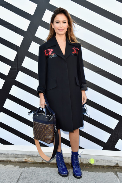 Miroslava Duma Wool Coat [clothing,footwear,dress,fashion model,fashion,shoulder,shoe,coat,blazer,outerwear,miroslava duma,front row,part,paris,france,louis vuitton,paris fashion week womenswear spring]