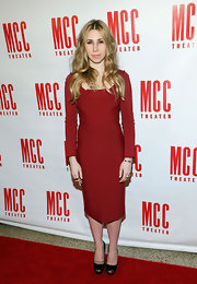 Zosia Mamet looked feminine and chic in a long-sleeved red dress while attending Miscast 2013 in NYC.