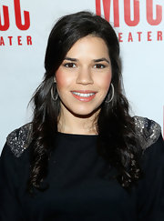 America Ferrera was glamorous but still casual with a half up half down 'do and loose curls.