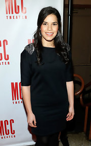America Ferrera opted for a little black dress with cool silver epaulets for her evening look at Miscast 2013.