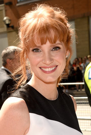 Jessica Chastain rocked a disheveled ponytail with wispy bangs at the 'Miss Julie' premiere.