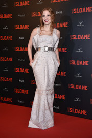 Jessica Chastain got glam in a structured, embroidered gown by Chanel Couture for the Paris premiere of 'Miss Sloane.'