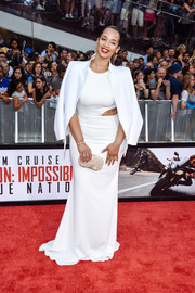 Dascha Polanco pulled her all-white look together with a pearl-studded clutch.
