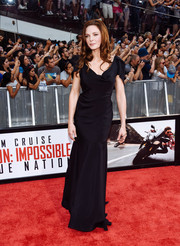 Rebecca Ferguson looked downright elegant in a draped black gown by Vivienne Westwood at the New York premiere of 'Mission: Impossible - Rogue Nation.'