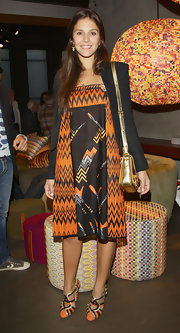 Margherita Missoni continued the orange and black theme with a pair of strappy pumps.