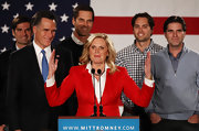 In hopes of turning Iowa into a red state, Ann Romney opted for bold bright colors with this all-American red blazer and classic white blouse.