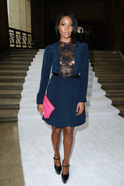 Gabrielle Union went for classic sophistication with a hint of sexiness in a blue cocktail dress with a lace-panel bodice when she attended the Miu Miu fashion show.