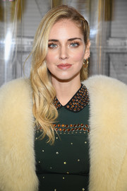 Chiara Ferragni teamed her 'do with a pair of classic gold hoops.