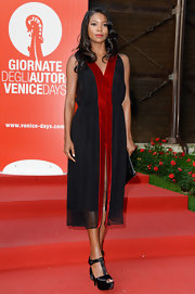 Gabrielle Union spiced up the basic black dress by opting for a piece that featured a bold velvet panel in the front.
