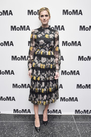 Allison Williams kept it modest in a long-sleeve floral midi dress at the MoMA's Contenders screening of 'Get Out.'