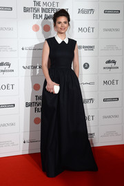 Hayley Atwell exuded youthful elegance at the Moet British Independent Film Awards in a black Jasper Conran evening dress with a white Peter Pan collar.