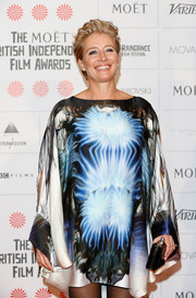 Emma Thompson worked a psychedelic vibe in an abstract-print shift dress by Maria Grachvogel during the Moet British Independent Film Awards.