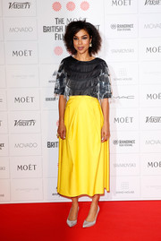 Sophie Okonedo attended the Moet British Independent Film Awards wearing a fringed gray blouse.