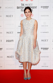 Keira Knightley looked enchanting in a fur-trimmed cloque cocktail dress by Simone Rocha during the Moet British Independent Film Awards.