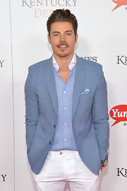 Josh Henderson had a cool aura about him in this blue blazer and white pants combo at the Kentucky Derby Moet & Chandon toast.