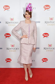 Coco Rocha's nude platform pumps and skirt suit were at classic pairing.