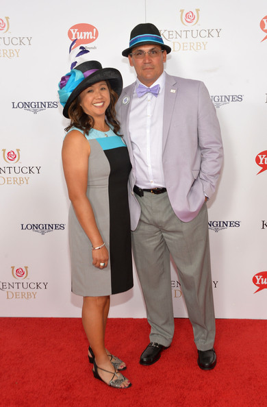 Stephanie Rivera kept it simple yet chic in a sleeveless sheath with multicolored panels at the Kentucky Derby Moet & Chandon toast.