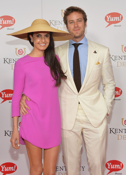 Elizabeth Chambers donned an exotic wide-brimmed straw hat at the Kentucky Derby Moet & Chandon toast.