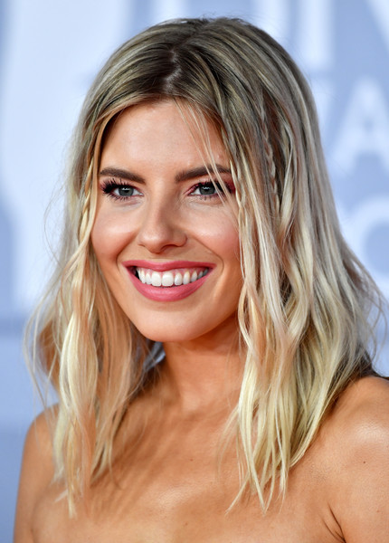 Mollie King Long Wavy Cut [hair,face,blond,hairstyle,skin,eyebrow,chin,lip,beauty,layered hair,red carpet arrivals,mollie king,brit awards,england,london,the o2 arena,the brit awards 2020,2020 brit awards,blond,hair,hairstyle,beauty,braid,celebrity,model,hair coloring,bangs]