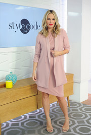 Molly Sims was business-chic in a dusty-rose skirt suit while visiting Amazon's 'Style Code Live.'