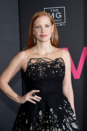 Jessica Chastain's cocktail ring was a perfect complement to her monochrome gown at the New York premiere of 'Molly's Game.'